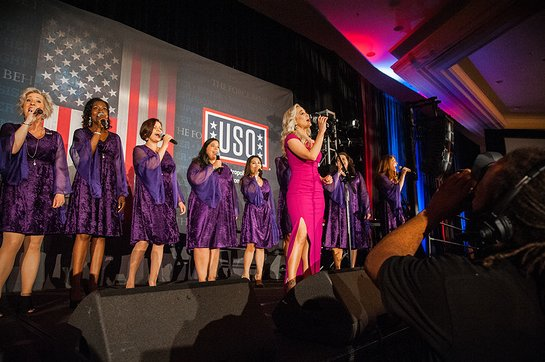 Kellie Pickler performed God Bless America with the American Military Spouses Choir