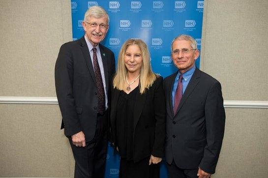 NIH Director Dr. Francis Collins, Ms. Streisand, and NIAID Director Dr. Anthony Fauci