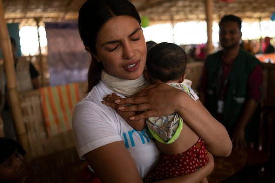 Priyanka visits Rohingya refugee children at a UNICEF-supported therapeutic feeding center for malnourished children