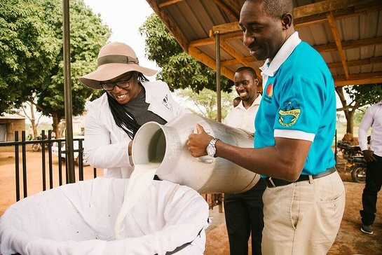 Uzo Aduba and William Matovu collect milk at the East Africa Dairy Development project in Dwaniro, Uganda