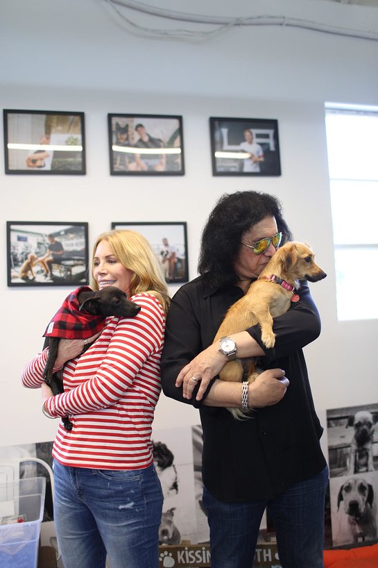 Gene Simmons with Shannon Tweed Simmons made a surprise family visit to local Los Angeles dog rescue Wags & Walks