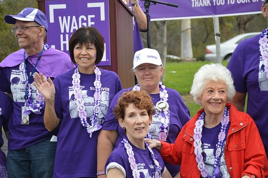 Rae with fellow survivors at the Pancreatic Cancer Action Network PurpleStride Orange County 2016