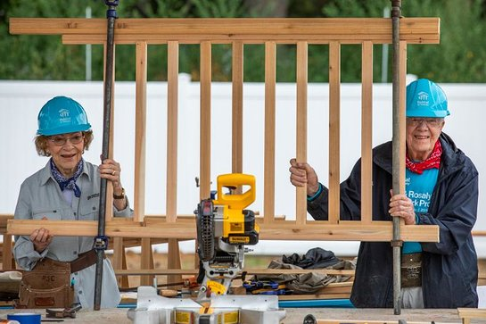 Jimmy Carter and Rosalynn Carter show off their handiwork at the 2018 Carter Work Project in Indiana