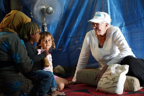 Vanessa Redgrave met with Syrian refugee families in Housh al Refka informal settlement in Bekaa Valley