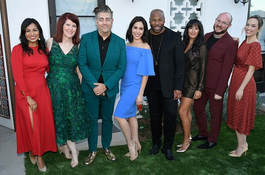 Karen David, Kate Flannery, Eric Thomas Peterson, Gabrielle Ruiz, Anthony Evans, Courtney Reed, and Kelley Jakle