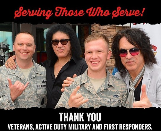 Gene Simmons and Paul Stanley of KISS will offer free food to veterans, active military and first responders