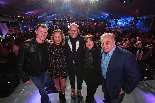 Bobby Flay, Giada De Laurentiis, Alton Brown, Ina Garten, and NYCWFF founder Lee Brian Schrager