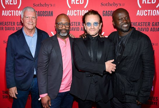 Larry Gagosian, Theaster Gates, Bono and Sir David Adjaye OBE at the third (RED) Auction