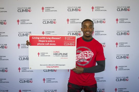 American Ninja Warrior TV series finalist and National Fight For Air Climb Ambassador Najee Richardson