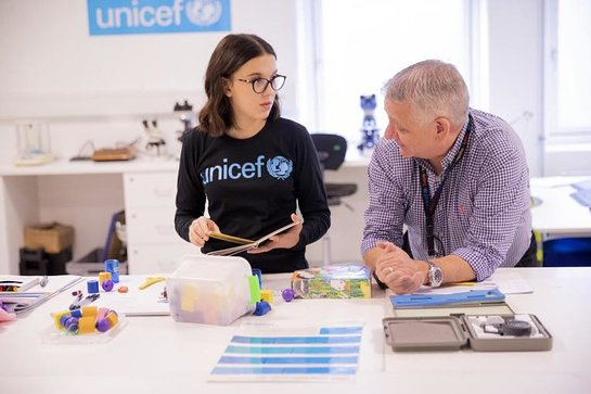 UNICEF Goodwill Ambassador Millie Bobby Brown at UNICEF's global supply hub in Copenhagen, Denmark.