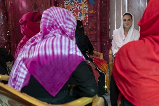 Angelina Jolie speaks with Rohingya women who survived sexual violence in Myanma