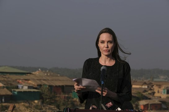 Angelina Jolie speaks at a press conference in Bangladesh's Kutupalong refugee camp