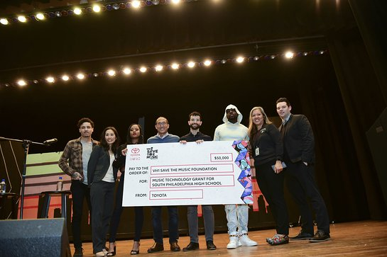 Toyota and VH1 Save The Music executives presented a $50,000 music technology grant to South Philadelphia High School