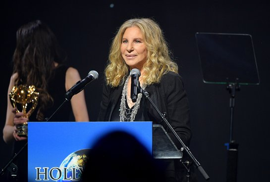 Barbra Streisand accepts her award onstage at the 2019 Hollywood for Science Gala