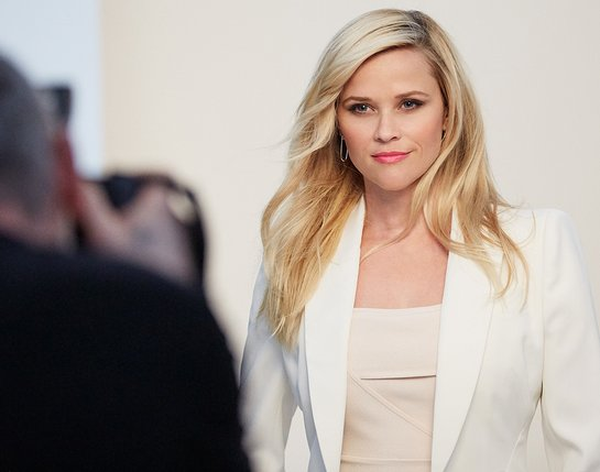 Reese Witherspoon behind-the-scenes at the March On photo shoot.