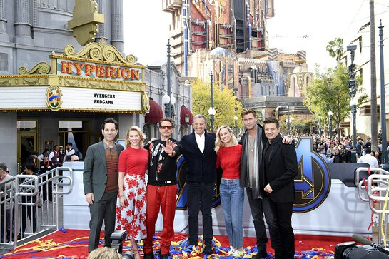 Paul Rudd, Scarlett Johansson, Robert Downey Jr., Bob Iger, Brie Larson, Chris Hemsworth and Jeremy Renner attend Avengers Universe Unites