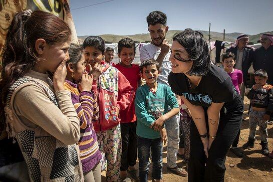 Dua Lipa visits children in an informal settlement near Terbol in the Bekaa Valley, Lebanon