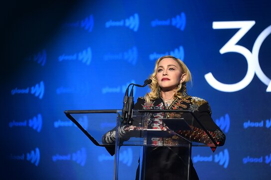 Madonna speaks onstage during the 30th Annual GLAAD Media Awards New York