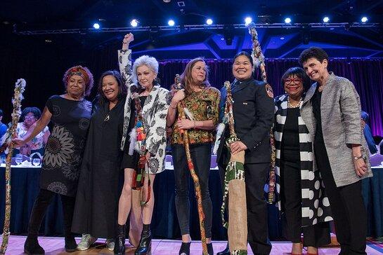 Dr. Marta Moreno Vega, dream hampton, Cyndi Lauper, Abigail E. Disney, Sarinya Srisakul, and Rhonda Joy McLean