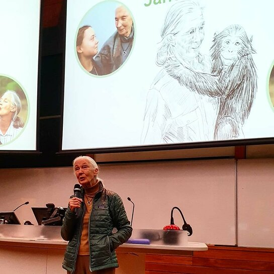 Dr Jane Goodall spoke to high school students from across Wellington at the Wellington Climate Challenge 2019.