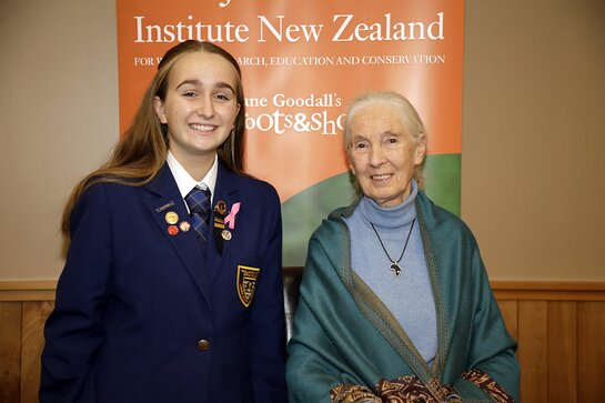 Wellington Youth Reporter Anastasia Reid and Dr. Jane Goodall