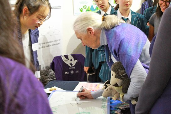 Jane spoke with some of the student about their projects, and supported them where she could.