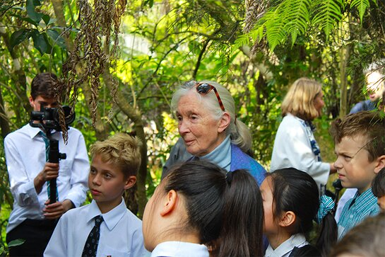 Jane and some of the students on the nature walk