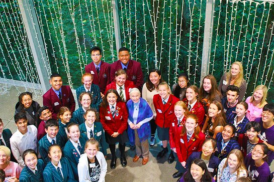 Jane and the senior students at the Auckland Roots & Shoots event