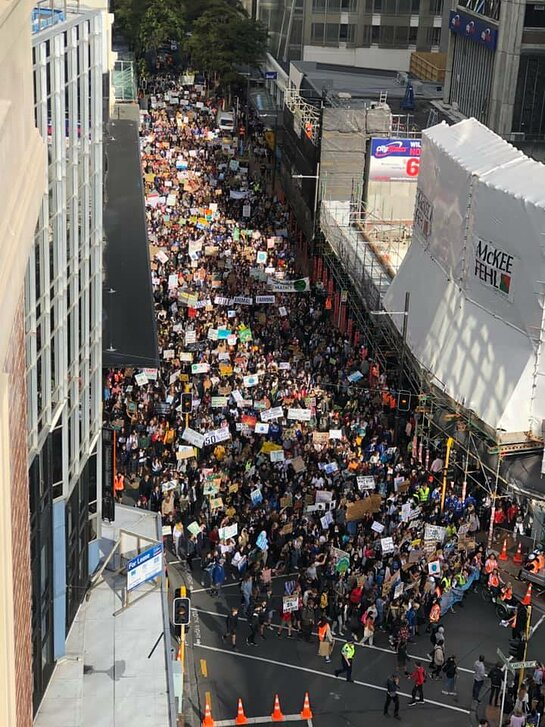 Students and supporters march through Wellington towards Parliament