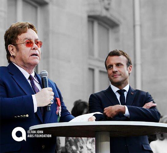 Elton John and President Emmanuel Macron