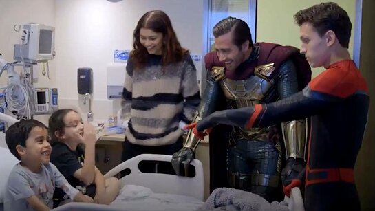 Tom Holland, Zendaya and Jake Gyllenhaal at Children's Hospital LA}