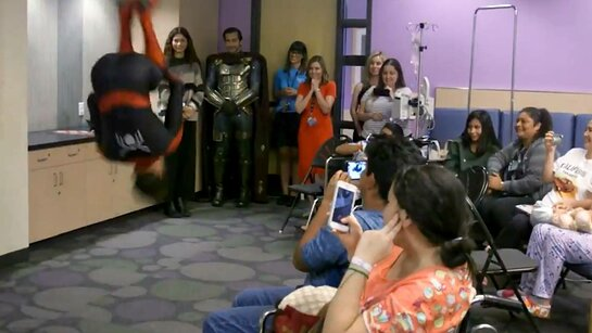 Tom Holland Demonstrates Back Flips At Children's Hospital LA