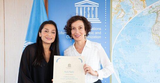 UNESCO Director-General Audrey Azoulay and Nadia Nadim