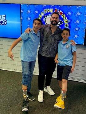 Brandon Martinez, Enrique Santos and Sebastian Martinez in the Are You Kidding Podcast studio