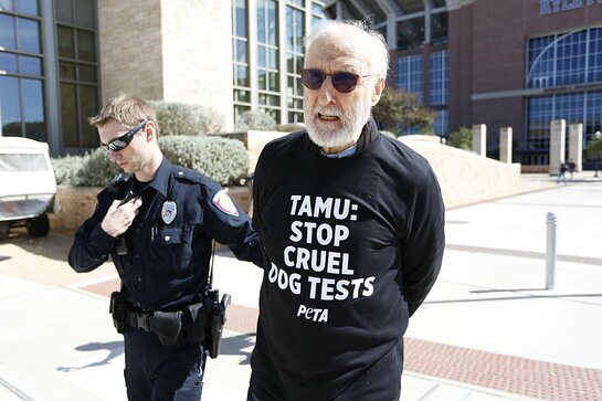 James Cromwell Arrested During Texas PETA Protest