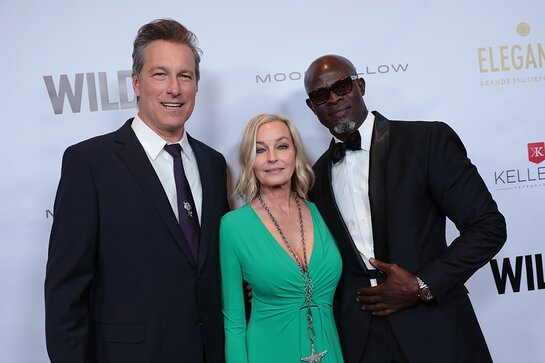 John Corbett, Bo Derek and Djimon Hounsou attend the WildAid Gala at the Beverly Wilshire Hotel on November 9, 2019.