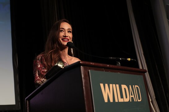 Maggie Q speaks on stage at the WildAid Gala on November 9, 2019.