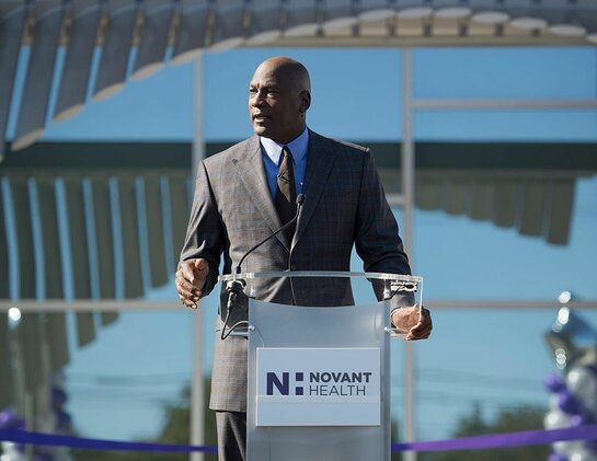 Michael Jordan speaks at the opening of the Novant Health Michael Jordan Family Medical Clinic.
