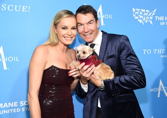 Rebecca Romijn and Jerry O'Connell walk the red carpet with the dog Ella Bean at the HSUS 'To The Rescue!' 2019 Gala.