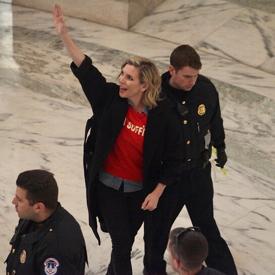 June Raphael was arrested for civil disobedience at the November 16th Fire Drill Friday event.