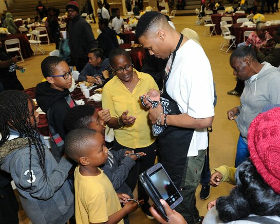 Russell Westbrook at his 8th Annual Thanksgiving dinner in Los Angeles.
