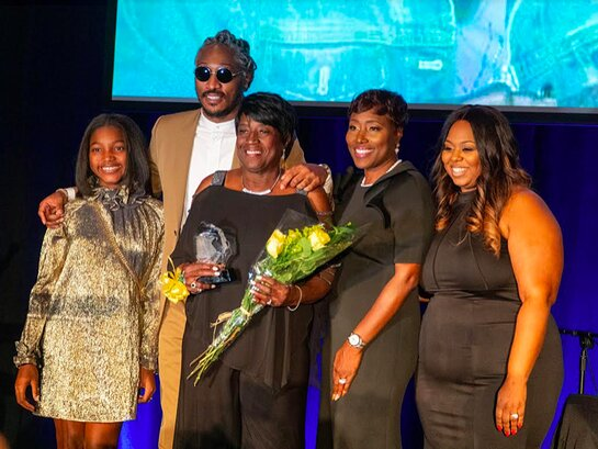 It's a family affair. Future stands with daughter Londyn (left), his grandmother Emma Jean, mother Stephanie Jester and sister Tia Wilburn-Anderson