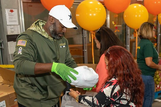 Corey Gamble helped pass out food to people in need.