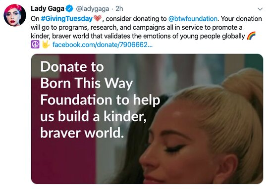 Lady Gaga is asking fans to support her foundation on GivingTuesday.