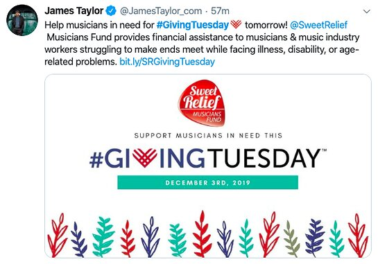 James Taylor is supporting Sweet Relief this Giving Tuesday.
