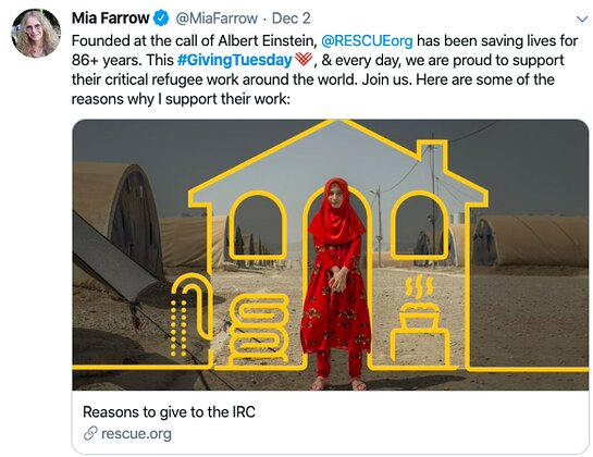 Mia Farrow supports the International Rescue Committee.