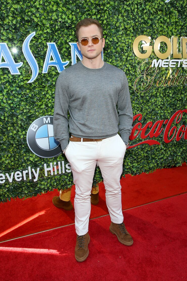 Taron Egerton attends GOLD MEETS GOLDEN 2020, presented by Coca-Cola, BMW Beverly Hills And FASHWIRE