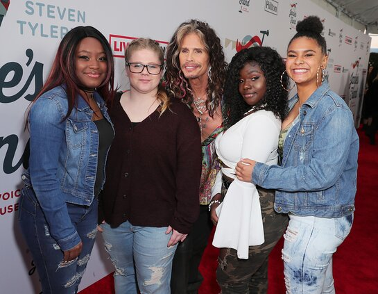 Youth Villages African Drumming Group and Steven Tyler arrive at Steven Tyler's Third Annual Grammy Awards Viewing Party