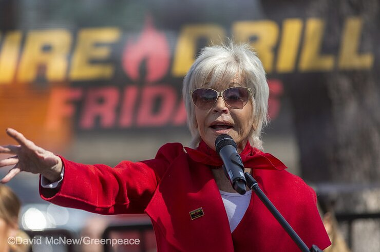 Jane Fonda Addresses Fire Drill Friday