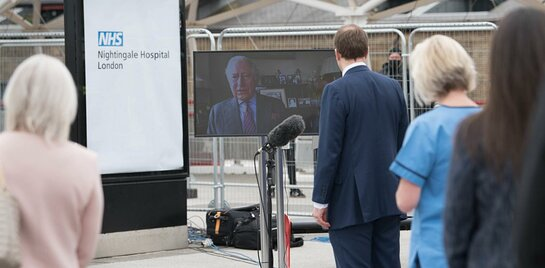 The Prince of Wales virtually opens the new NHS Nightingale Hospital